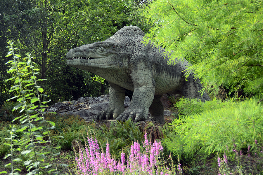 Megalosaurus 2015 Crystal Palace Dinosaur statues by Benjamin Waterhouse Hawkins in 1850s located in Crystal Palace, a suburb of London, UK.