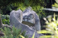 Megalosaurus 2013 Crystal Palace Dinosaur statues by Benjamin Waterhouse Hawkins in 1850s located in Crystal Palace, a suburb of London, UK.