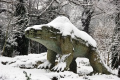 Megalosaurus 2010 Crystal Palace Dinosaur statues by Benjamin Waterhouse Hawkins in 1850s located in Crystal Palace, a suburb of London, UK.