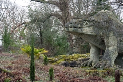 Megalosaurus 2020 Crystal Palace Dinosaur statues by Benjamin Waterhouse Hawkins in 1850s located in Crystal Palace, a suburb of London, UK.