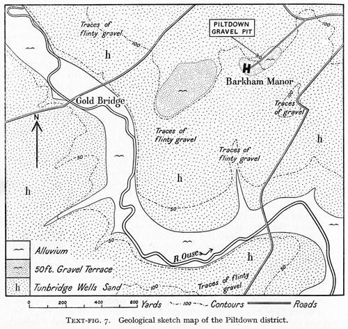 Piltdown excavation site from Edmunds 1955 Figure 7