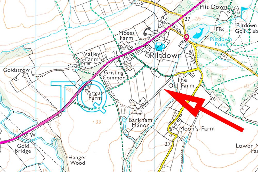 piltdown-excavation-memorial-location-ordinance-survey-map