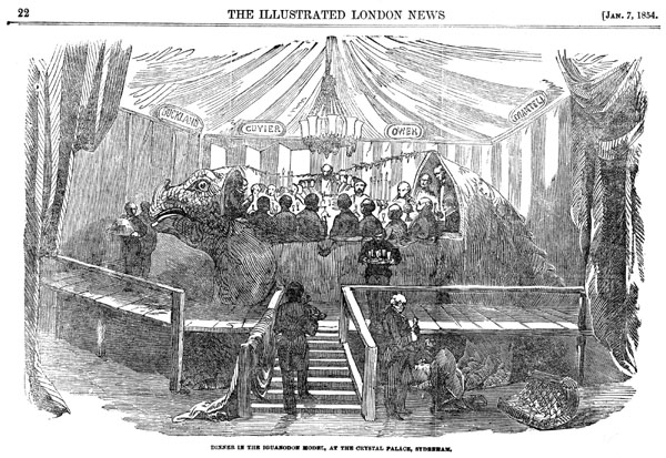 "The famous ""Dinner in the Iguanodon Model"" was immortalised in this picture, published in Illustrated London News, 7 January 1854, p. 22."
