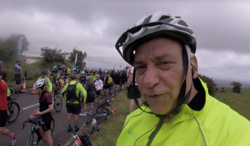 ProfJoeCain at Ditchling Beacon on the LondonToBrighton Bike Ride 2019