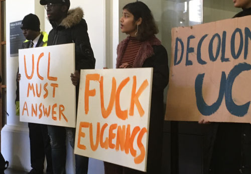 Student protests during scandal over London Conference on Intelligence (LCI) January 2018