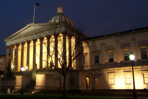 University College London (UCL) Wilkins Building at night